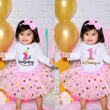 First Birthday Baby Girl Birthday Party Dress Cute Pink Tutu Cake Outfits Toddler Girls Autumn clothes set