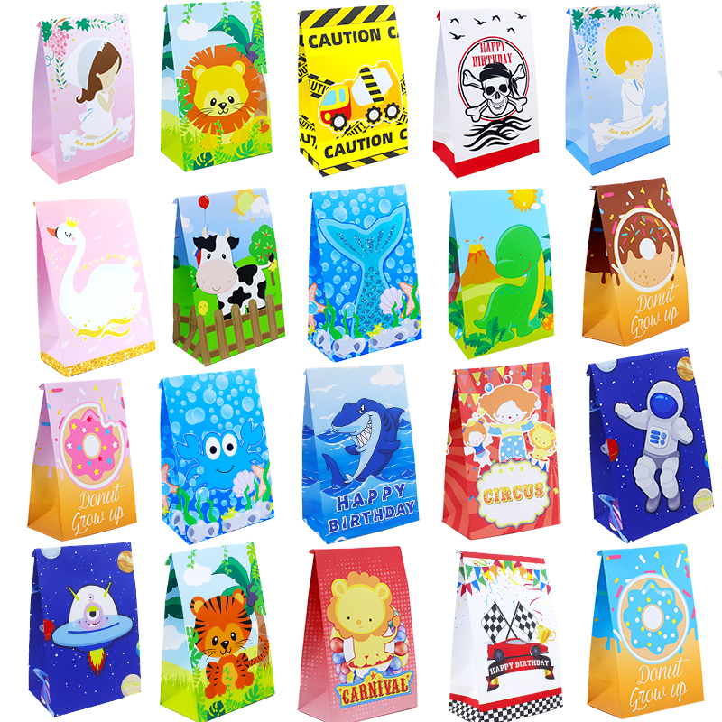 Подарочный пакет, Подарочная коробка, бумажная упаковка для лечения детей, Русалка, животное на ферме, сафари, Пончик, Акула, астронавты, кон...
