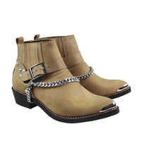 100% Cow Genuine Leather Boots Ankle Pointed Metal Toe Motorcycle Boots Man Punk Cowboy Boots Military  with Chains, Sizes 38-46