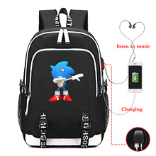 Sonic Dabbing USB Charge Backpack Men Women Boys Girls Rucksacks Men Women USB Charging School Knapsacks for Boys Girls