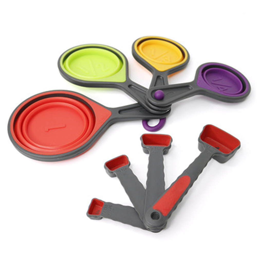 8 Pcs Travel Silicone Measuring Cups And Measuring Spoons Set Collapsible Measuring Cups Portable Measuring Tool