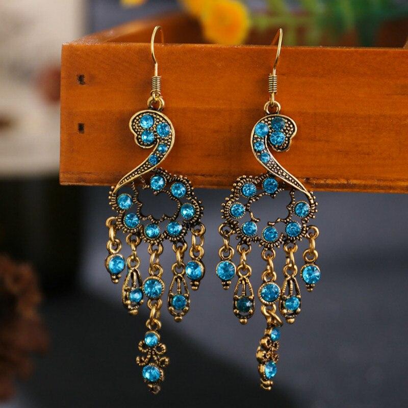 Ethnic Style Vintage Rhinestone Earrings 2020 Women Antique Bronze Temperament Alloy Hollow Out Crystal Long Earrings Oorbellen