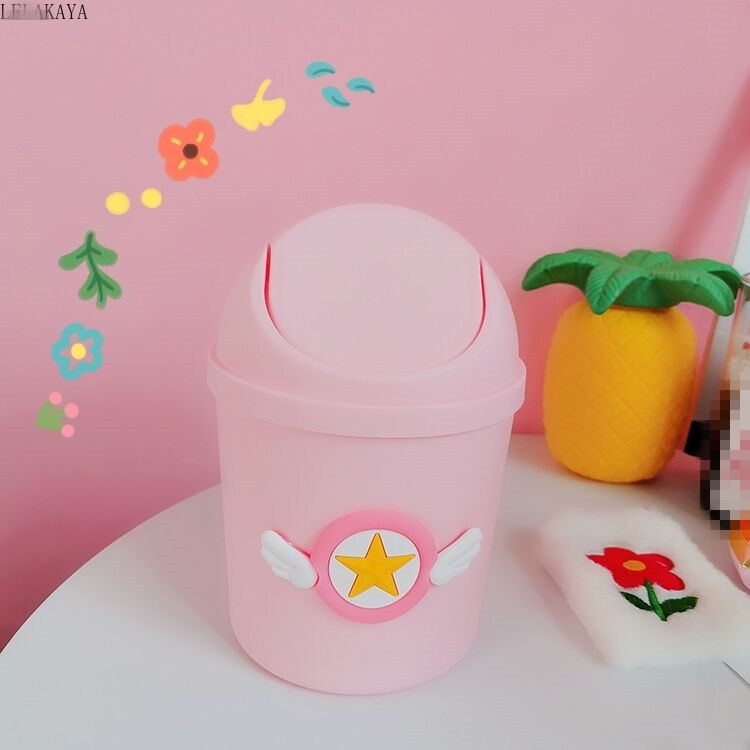Card Captor Sakura Creative Ashbin Action Figure Mini Plastic Shake Cover Desktop Trash Can Home Table Storage Bucket With Lid