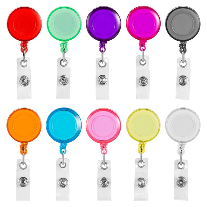 Clip On Retractable Badge Reel With Belt Clip For ID Cards Badge Key Keychain Holders 10 Pcs Different Colors