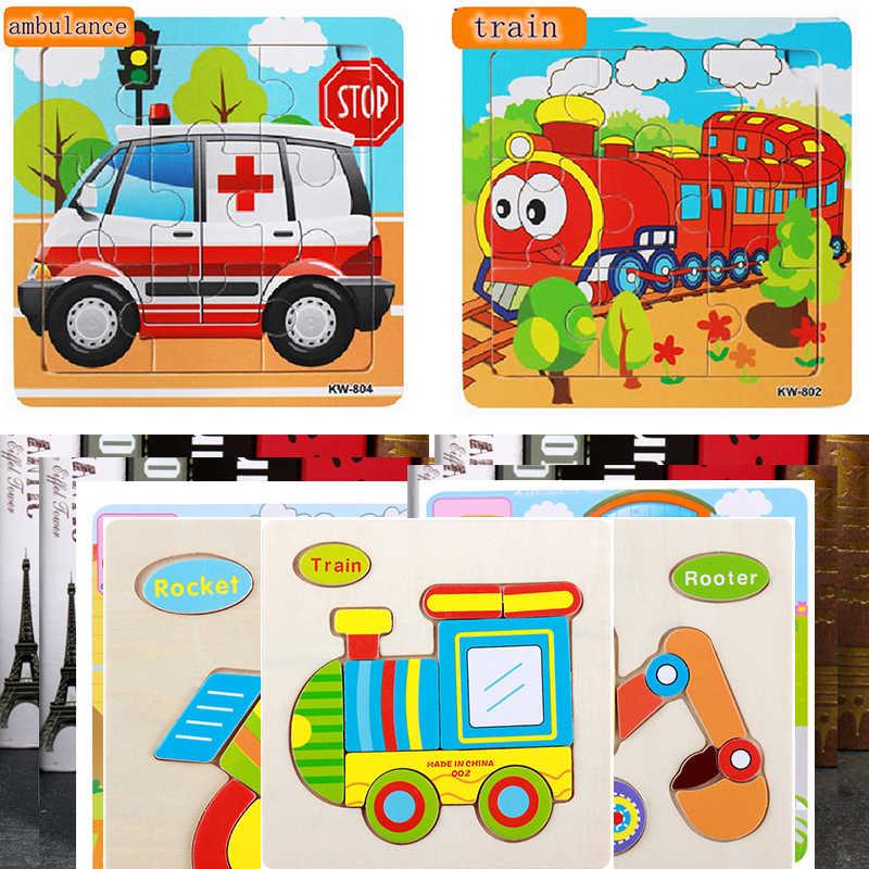 Puzzle drewniane dla dzieci Puzzle 3D zabawki edukacyjne Puzzle samochodowe Montessori zabawki dla dzieci/gry dla dzieci poznanie ruchu Puzzle zabawki