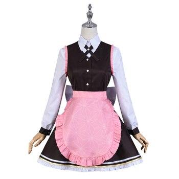 Anime Demon Slayer Kimetsu no Yaiba  Kamado Nezuko Maid Dress Coffee Shop Uniform Cosplay Costume Halloween Suit For Women Outfi 2