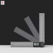 デュカ多機能デジタル角度定規ledディスプレイ360度ゴニオメータステンレス鋼の精密アングルファインダー