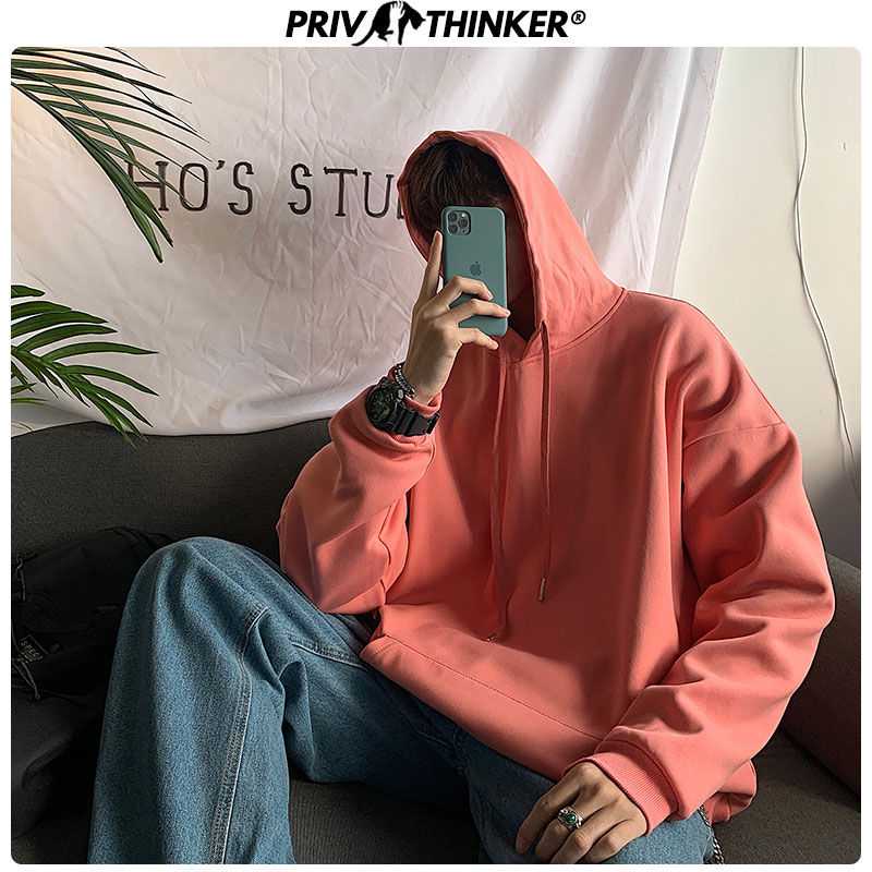 Privathinker Men's Solid Harajuku Spring Hoodies Men 2020 Fashion Korean Hooded Sweatshirt Male Collage 8 Colors Sweatshirt 5XL
