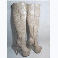 Shofoo Schoenen, Elegante En Modieuze, Serpentine Leer, Ongeveer 18Cm Hoge Hakken Laarzen, knie Hoge Vrouwen Laarzen, Grote Maat Laarzen