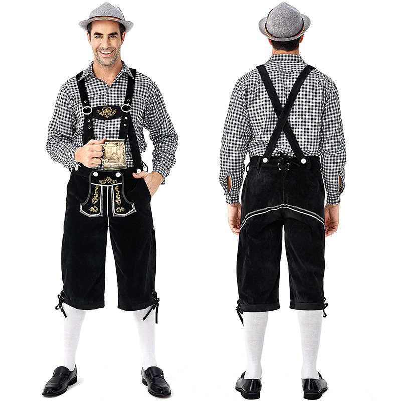 Deluxe hombres Oktoberfest de Lederhosen con camisa a cuadros sombrero trajes Baviera Festival tradicional cerveza de los hombres traje de