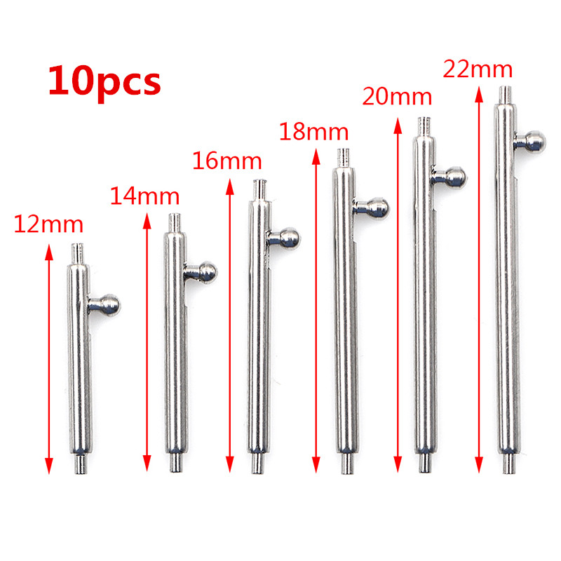 10pcs Quick Release Watch Band Single Switch Spring Bars 16mm 18mm 20mm 22mm 24mm Strap Link Pin Stainless Steel
