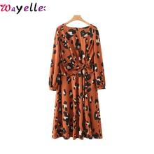 Winter Women Pleated Midi Dress Leopard Print Bow Tie Ladies Dress Fashion Casual Animal Pattern Long Sleeve Split Female Dress