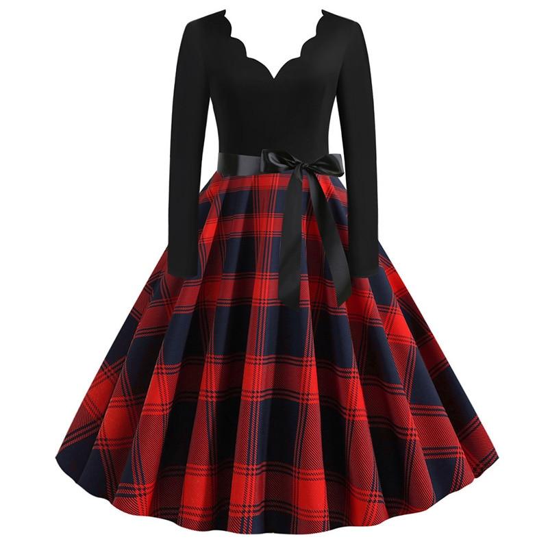 Women Long Sleeve Winter Vintage Dresses Sexy Black Music Note Print V-neck Rockabilly Pin up Party Dress Vestidos Plus size 515