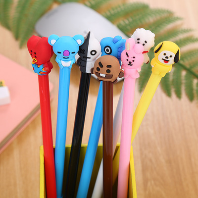 1pc Cartoon Chancellory Office Gel Pen Kawaii Silicone Head Pens Black Ink Pen Student School Supplies Stationery