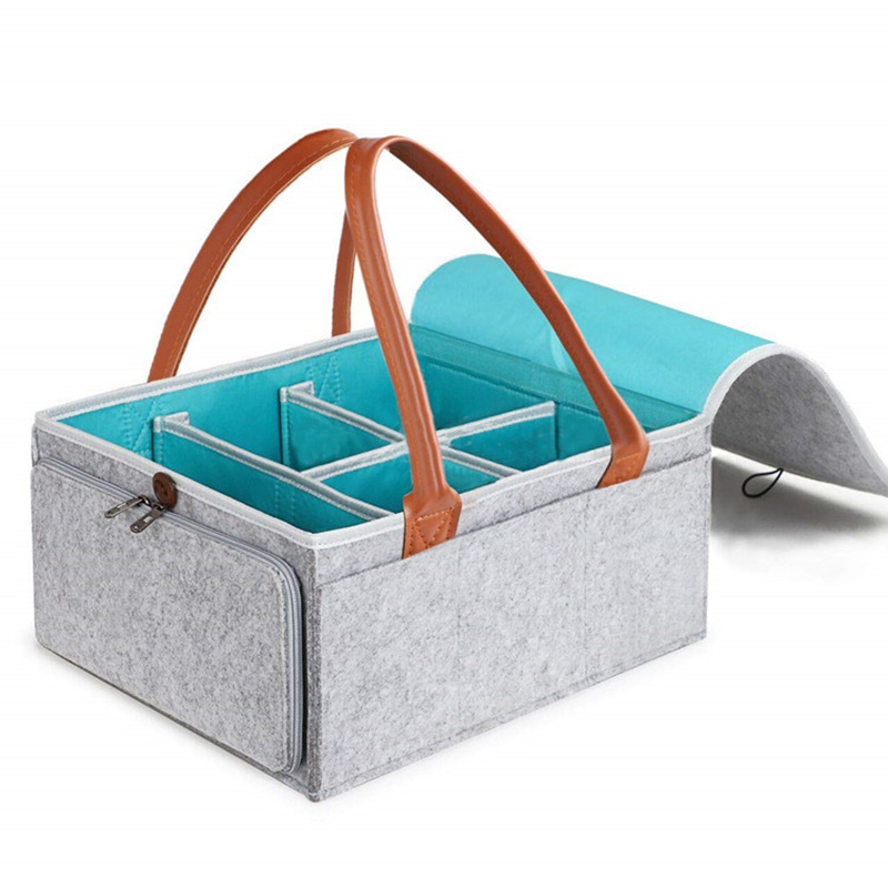 Baby Diaper Caddy Organizer Portable Nursery Storage Basket With Zipper Lid And Leather Handle Nursery Essentials Storage Bins