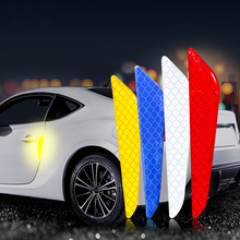4Pcs/Set Car Reflective Strips Warning Stickers Door Anti-Collision Strip Safety Mark Sticker Auto Accessories