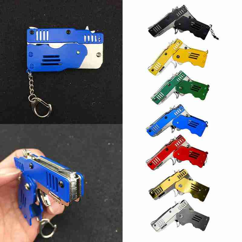 Zinc Alloy Mini Foldble Rubber Band Gun Keyring Shape Children's Gift Toy 100 Bursts Of Rubber Band Novelty Fake Pistol Gun Toy