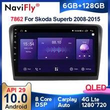 Autoradio QLED Android 10, Navigation GPS, 4G LTE, 6 go/128 go, lecteur multimédia vidéo, sans DVD, 2din, pour voiture Skoda Superb 2 B6 (2013 – 2015)