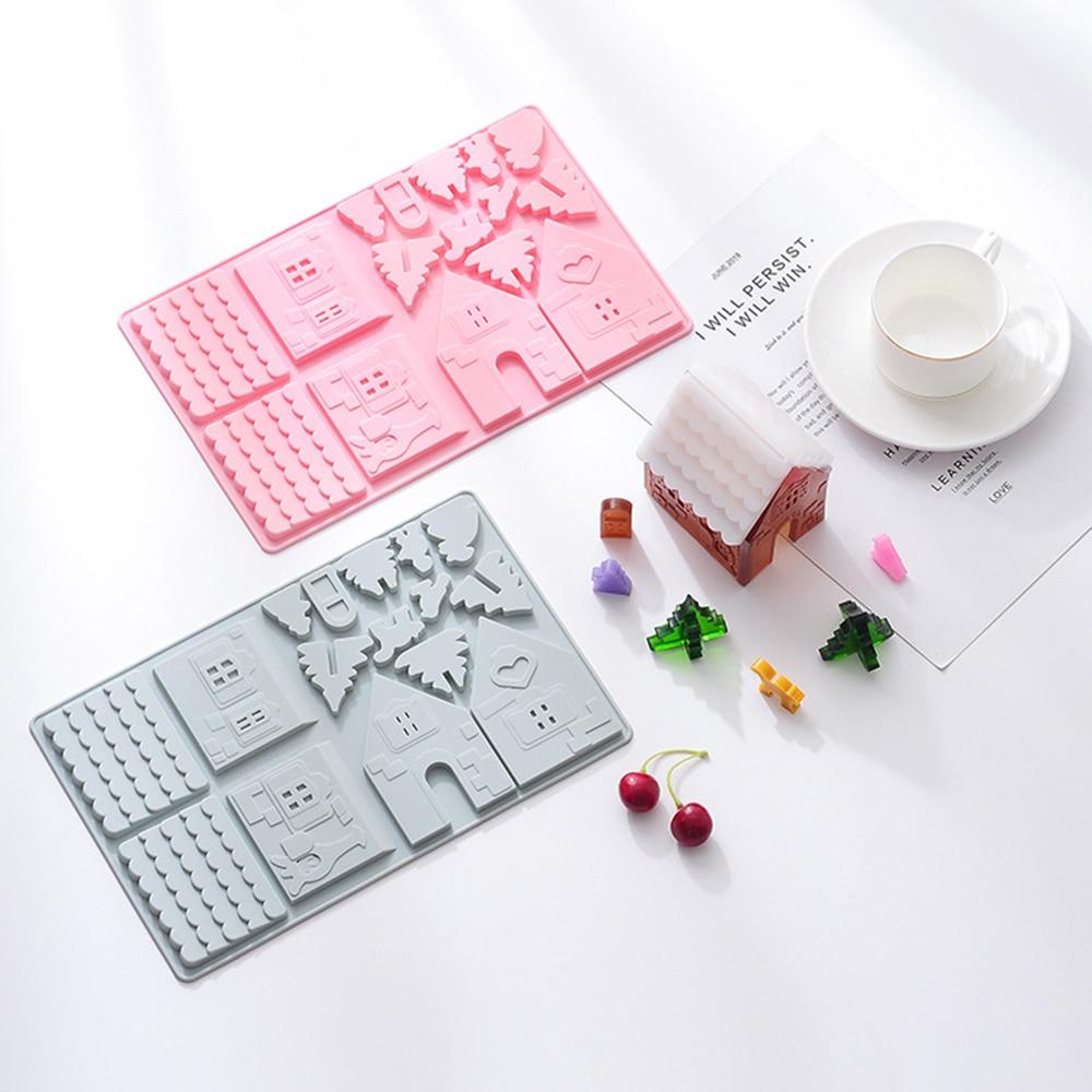 New 3D Christmas House Silicone Molds Chocolate Plaster Sugarcraft Baking Mould Fondant Cake Decorating Tools