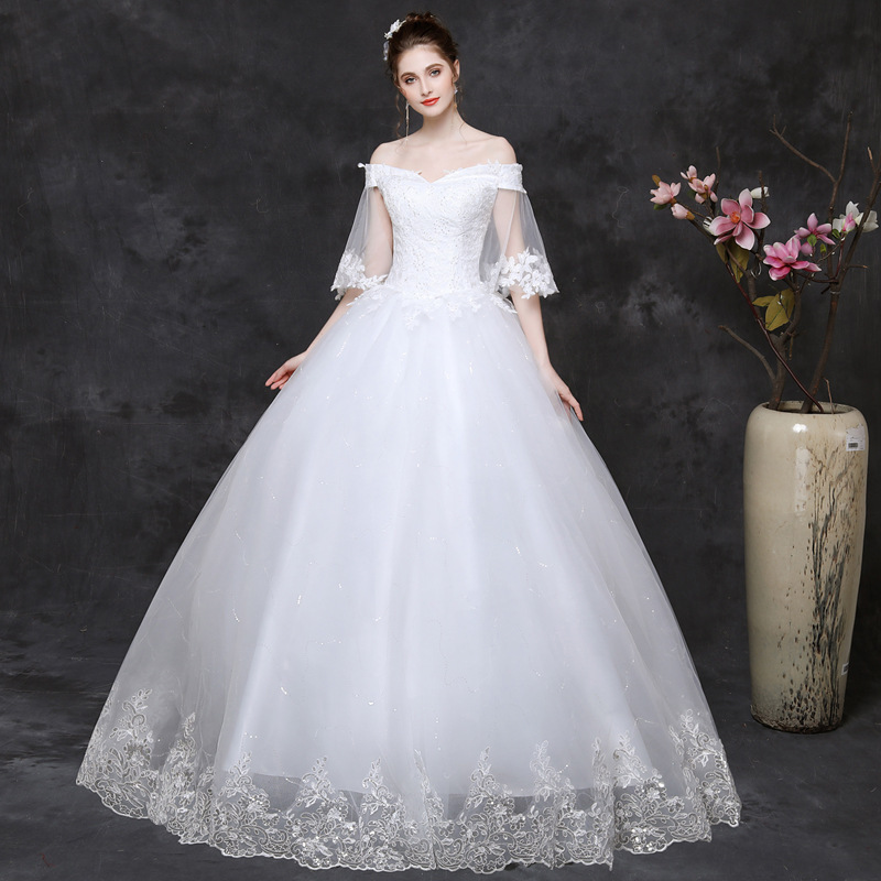2019 Real Korean Neat, A Word Shoulder Pregnant Women Bigger Sizes Contracted Studio Spring/summer Bride Married Seven Sleeve