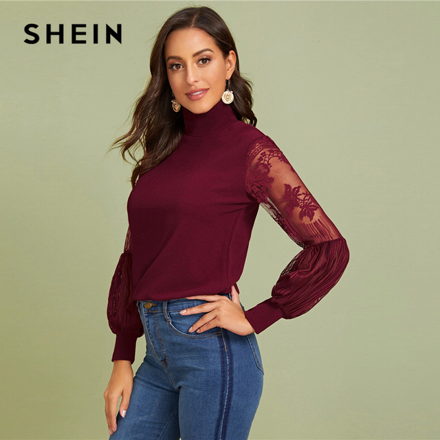 High Neck Lace Lantern Sleeve Top Fashion Mesh Blouse Pattern Printing Ladies Tops 4