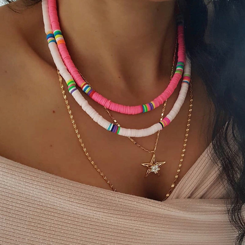 JUST FEEL Handmade Multicolor Choker Necklaces For Women Fashion 2019 Charm Resin Pendant Necklace Bohemain Ethnic Jewelry Gifts