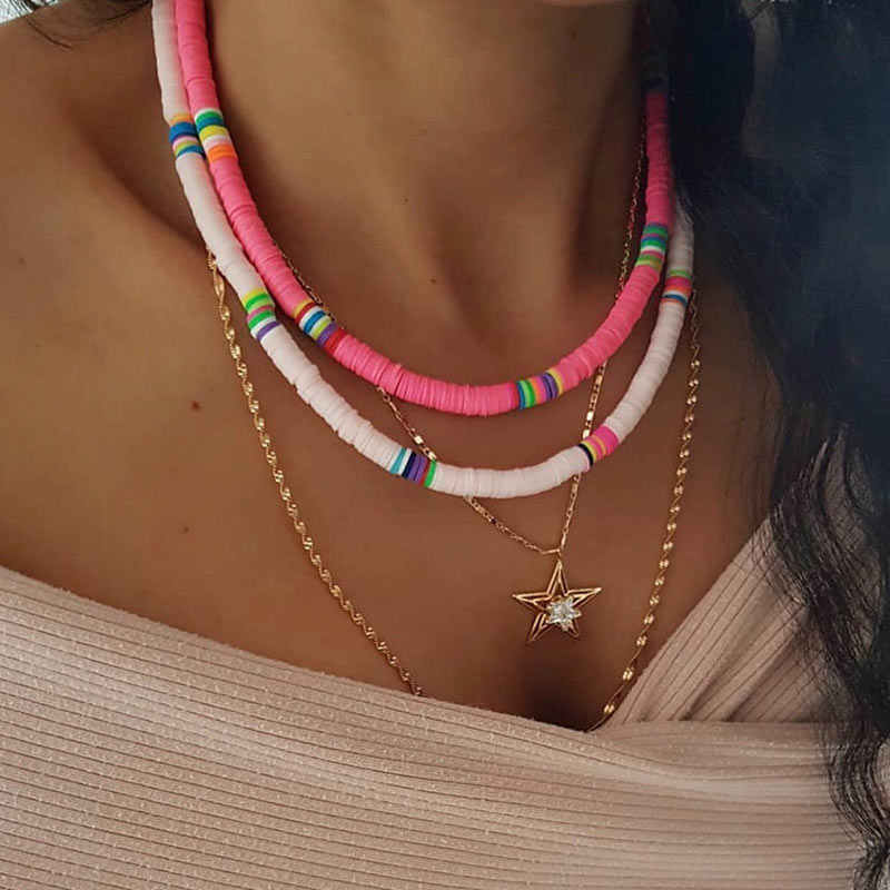 Po prostu czuć się ręcznie robione Rainbow Choker naszyjniki dla kobiet czeski moda komunikat wisiorek z żywicy naszyjnik 2019 damska biżuteria prezent