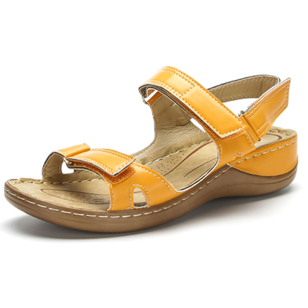 2020 горячая распродажа; Большие размеры 46; Летние сандалии с открытым носком; Женская обувь; Удобная обувь на танкетке с застежкой липучкой; Женская обувь; Zapatos Mujer Боссоножки и сандалии      АлиЭкспресс
