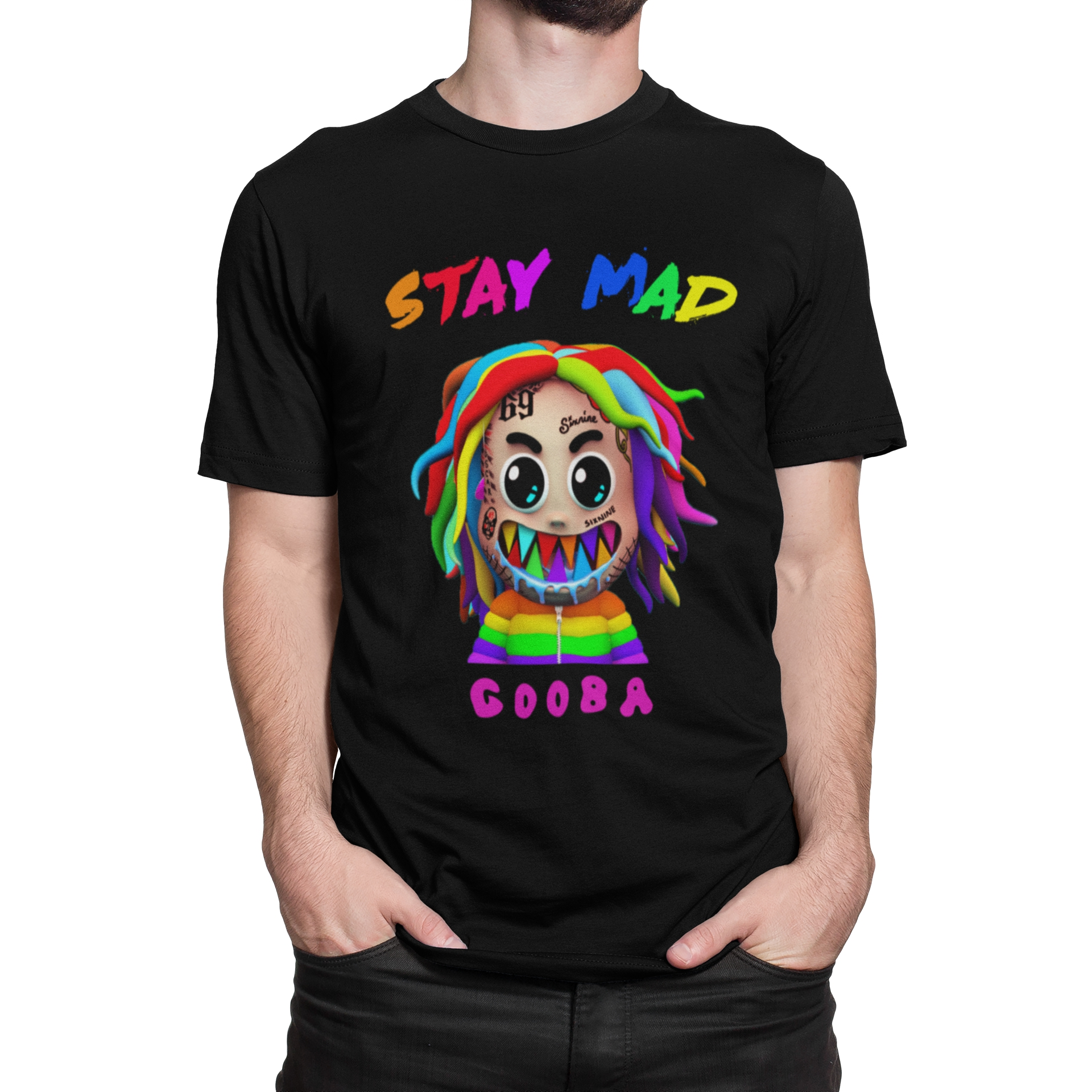 6IX9INE GOOBA Rapper T-shirt Short Sleeve Cool Hip Pop Song Casual Fans Summer O-neck Printed Cotton Pink Black White Street image