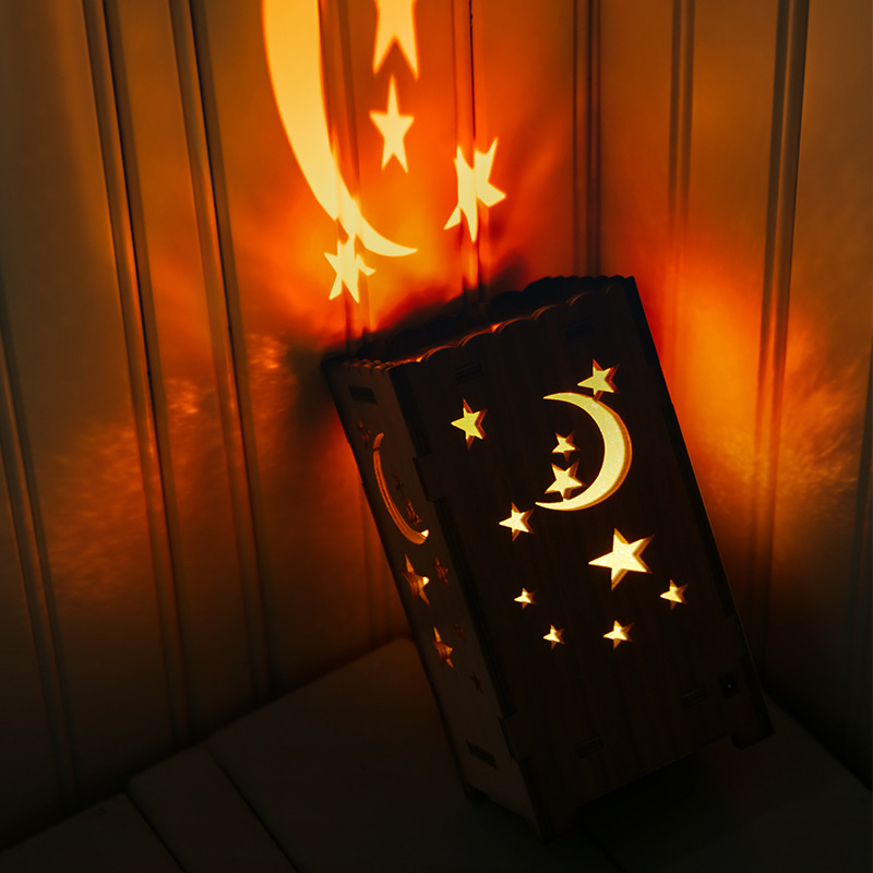 Wooden Star Projector Moon LED Lamps Multicolor USB Rechargeable Starry Night Light Baby Nursery Bedroom Bedside Lamp Home Decor