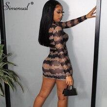 Simenual sıcak seksi Mesh şeffaf Mini elbise Bodycon kadınlar uzun kollu çizgili sırf Clubwear gece parti moda elbiseler ince