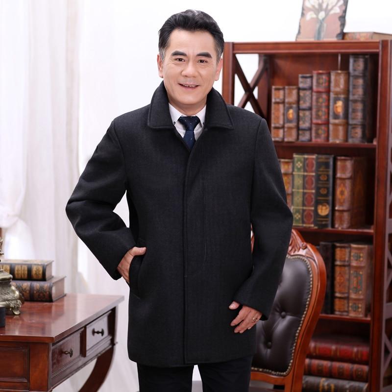 Winter Tweed Coat Men Black Wool Blend Overcoat Mature Man Fur Collar Single-breasted Woolen Jacket Elegant Thermal Clothings