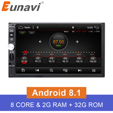 Eunavi Universal 2 din 7'' Octa 8 core Android 8.1 Car Radio Stereo GPS Navigation Wifi 2G RAM Capacitive Touch Screen 1024*600 цена