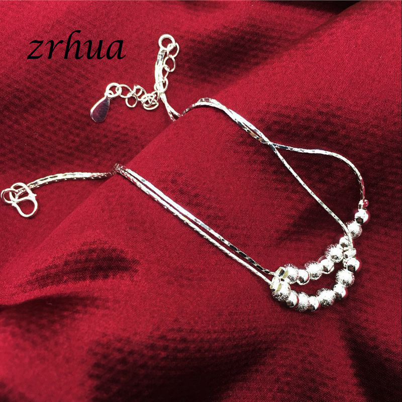 Bohemia 925 Silver Anklets For Women Multilayer Beads Pendant Anklet Sexy Foot Jewelry Best Gift Christmas Bijoux Decoration 4