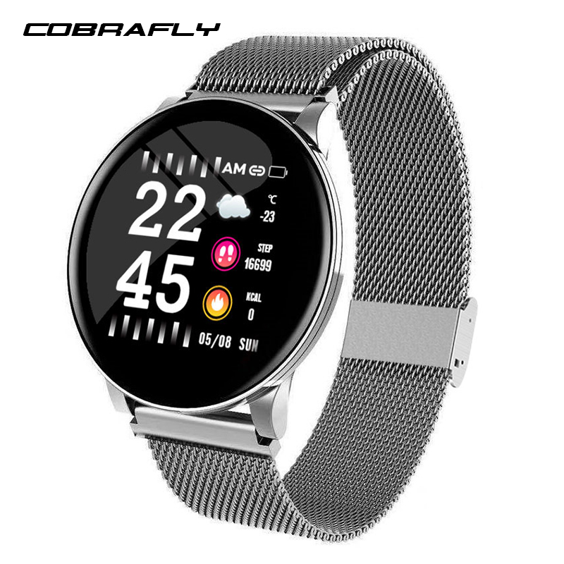 Cobrafly W8 smart band steel strip waterproof android IOS fitness tracker watch men women smart sport watch heart rate monitor image