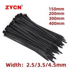 Nylon serre-câble largeur: 3.5MM autobloquant plastique chaîne noir fil Zip 500 pièces cerclage attaches industrielles ZYCN 250 pièces