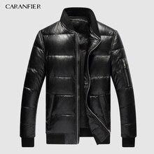 CARANFIER 2019 Erkek Kış Sıcak Siyah Hakiki Deri Gerçek Kuzu Derisi Ördek Aşağı Bombacı Ceketler Coats Jaqueta De Couro Deri Ceket