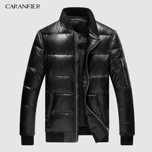 CARANFIER 2019 Mens Winter Warm Black Genuine Leather Real Lambskin Duck Down Bomber Jackets Coats Jaqueta De Couro Deri Ceket