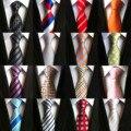 Модные галстуки 8 см классические мужские полосатые галстуки темно-синий красный свадебный галстук Шелковый жаккардовый тканый мужской од...
