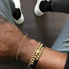 Braiding CZ Ball Bracelet Set Beads Men Bileklik Jewelry Adjustable 3Pcs/Set Hip Hop Bracelets Sets For Women Pulseira Masculina