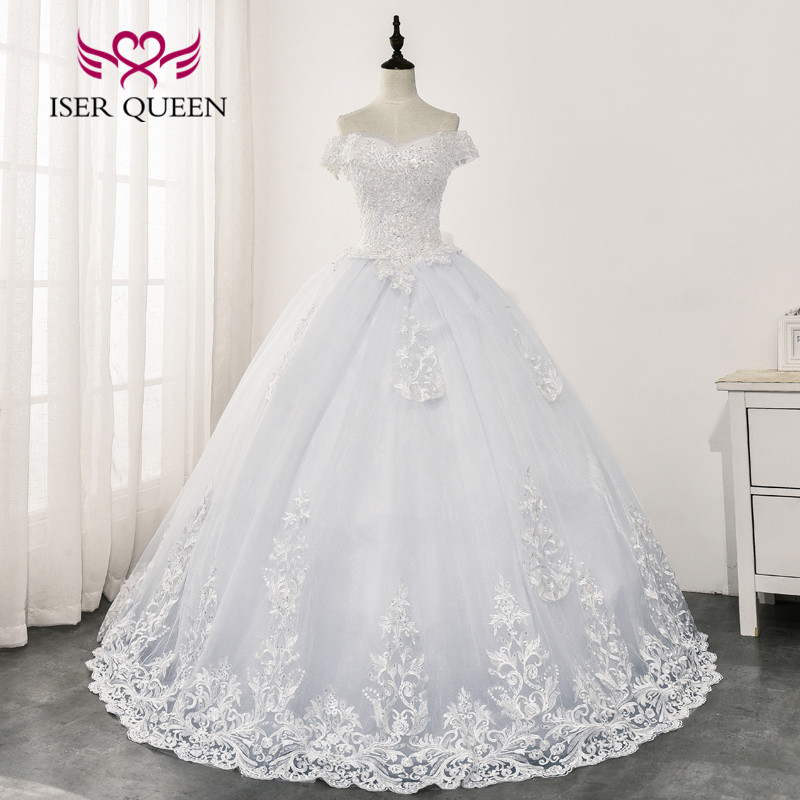 Bright Sequin Lace Wedding Dress 2020 New Ball Gown Bridal Dress Cap Sleeve Vestido De Noiva Embroidery Wedding Dresses WX0161