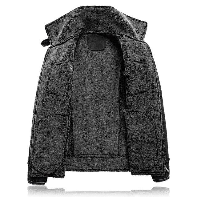 Plus size 5XL Winter Thick Leather Coat Men Casual flocking Leather Jacket Men's Warm Motorcycle leather Jackets Coats Black - 3