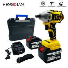 цена на Wireless brushless electric impact wrench 500N.m high torque 22500mA large capacity battery industrial grade power tool