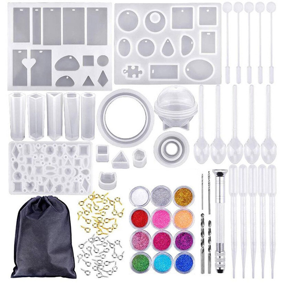 Silicone Mold For Resin Silicone Uv Resin DIY Clay Epoxy Resin Casting Molds And Tools Set With A Black Storage Bag For Jewelry