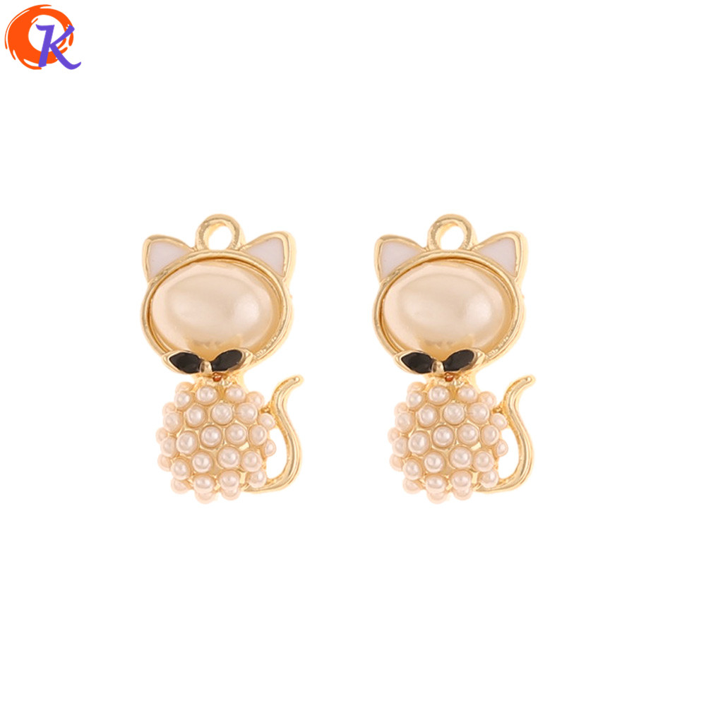 Cordial Design 50Pcs 12*22MM Jewelry Accessories/Hand Made/Imitation Pearl/Charms/Cat Shape/Earring Findings/DIY Pendant Making