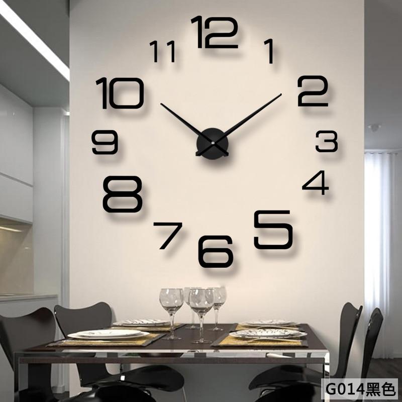 Big Wall Clock Sticker Modern Design DIY Clocks Art 3D Decorative Hanging Large Wall Watch Home Decor Silent