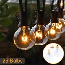Varal de luz de pátio de 50ft 25ft, luz de fada g40, globo, para exterior/interior, para festa, para jardim, casamento decoração