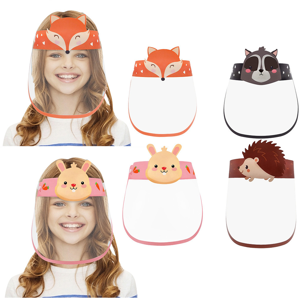 4pcs 3D Cartoon Transparent Full Face Shields Mask Outdoor Child Kids Boy Girl Cartoon Face Shields Cover Mask With Elastic Band