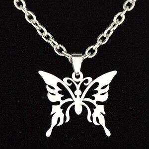 Панк Харадзюку Униф стиль полые бабочка ожерелье из нержавеющей стали Большие Животные цепи звено ожерелье для женщин вечерние ювелирные и...