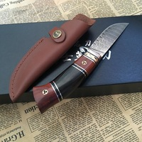 Fixed blade Hunting knife 100% Handmade Genuine Damascus Steel survival knife ebony handle first layer packing Outdoor Tools